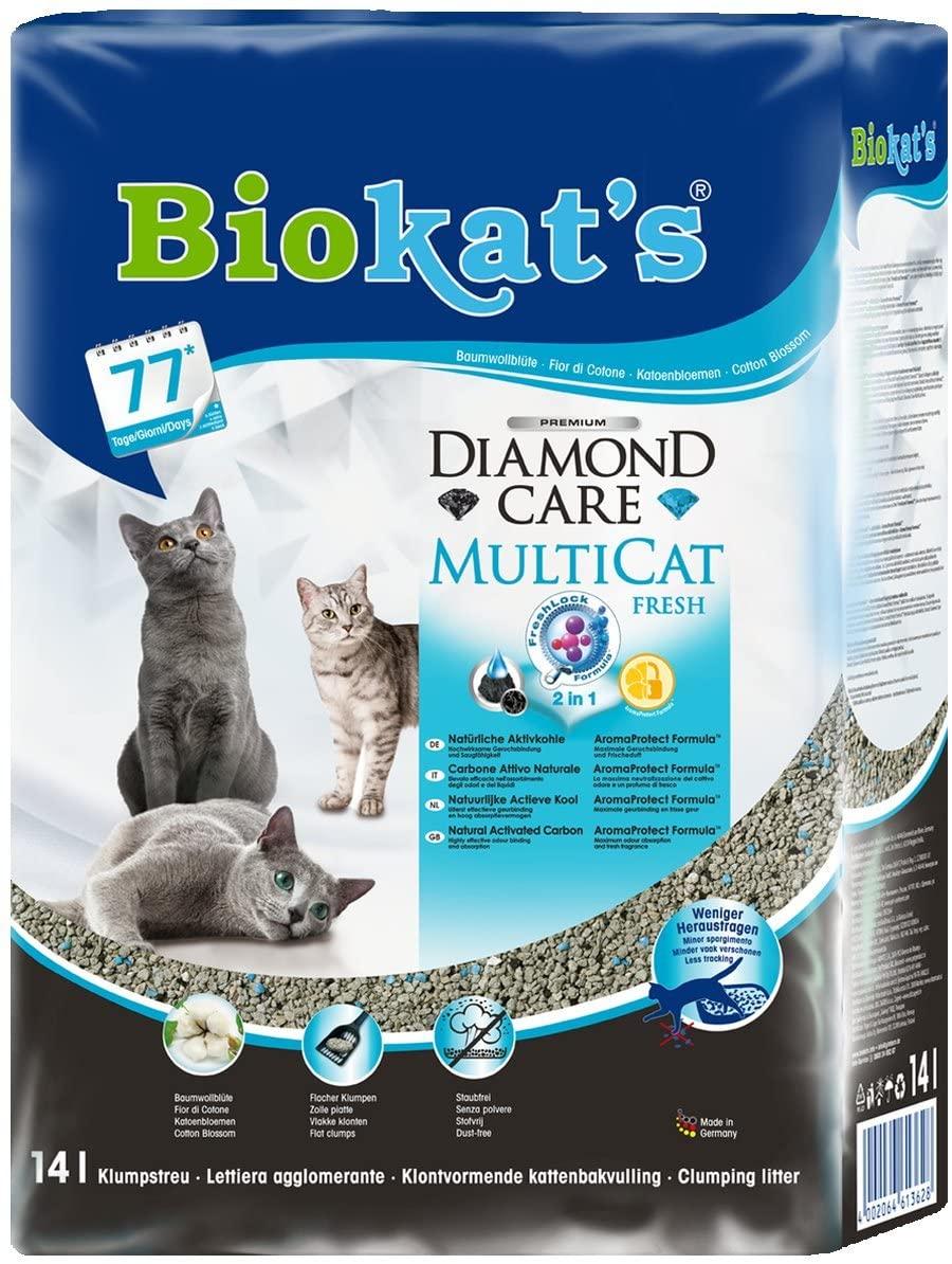 Biokat's Diamond Care Multicat Fresh, arena para gatos con fragancia libre de polvo