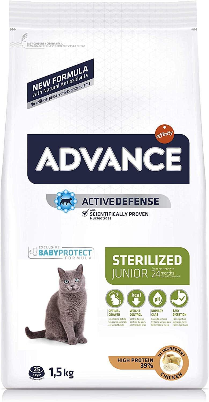 Advance Junior Sterilized - Pienso para Gatos esterilizados de hasta 2 años de Edad - 1.5 kg