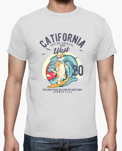 Comprar Camiseta Original Retro Vintage Gato surf Catifornia remascotas
