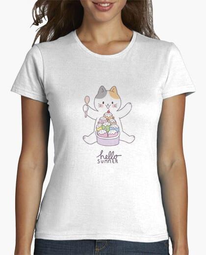 Comprar CAMISETA GATO HELADOS - HOLA VERANO HELLO SUMMER - Camisetas Personalizadas - Chico Chica - Tienda Online Envíos Baratos o Gratis
